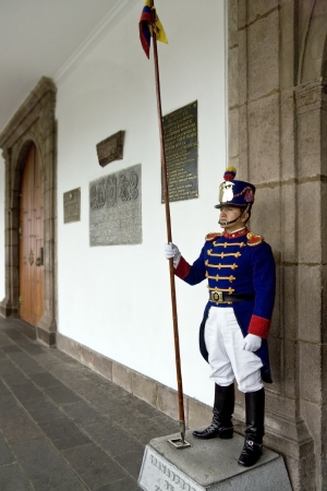 Ceremonial Guard at the Palacio de la Gobierno (Presidential Palace) in Plaza de la Independencia in Quito in Ecuador