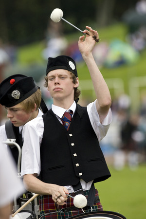 each year: Drummer in a pipe band at the Cowal Gathering. The Gathering is a traditional Highland Games held each year in Dunoon in Scotland Editorial