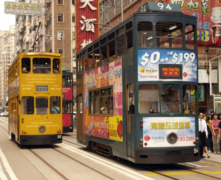 The famous trams in the Wanchi District of Hong Kong Island.