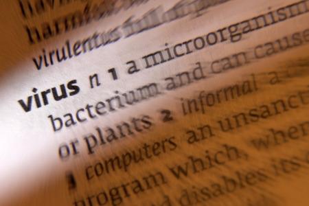 infective: Virus - 1. agente infeccioso que consiste en una mol�cula de �cido nucleico en una capa de prote�na que es capaz de multiplicar s�lo dentro de las c�lulas vivas de un anfitri�n. 2. un fragmento de c�digo inform�tico que puede da�ar un sistema o destruir datos.