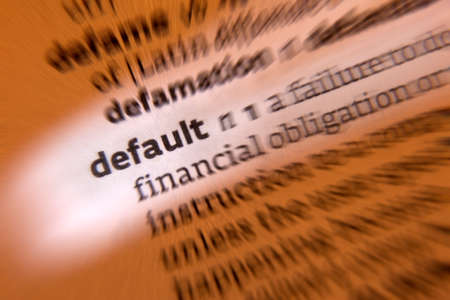 automatically: Default - 1. failure to fulfill an obligation, to repay a loan or appear in a court of law. 2. a preselected option adopted by a computer program or other mechanism when no alternative is specified.  Stock Photo