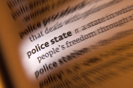 totalitarianism: A Police State is a totalitarian state controlled by a political police force that secretly supervises its citizens activities. Stock Photo