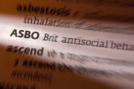 asbo: ASBO - An anti-social behaviour order is a civil order made against a person who has been shown, on the balance of evidence, to have engaged in anti-social behaviour  The orders, were introduced in the United Kingdom by Prime Minister Tony Blair in 1998  Stock Photo