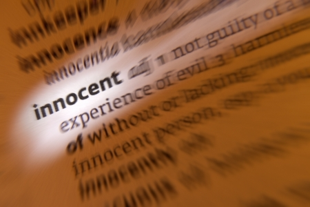 faultless: Innocent - 1  not guilty of a crime or offense, free from moral wrong, not corrupted  2  without experience or knowledge  3  not responsible for or directly involved in an event yet suffering its consequences Stock Photo