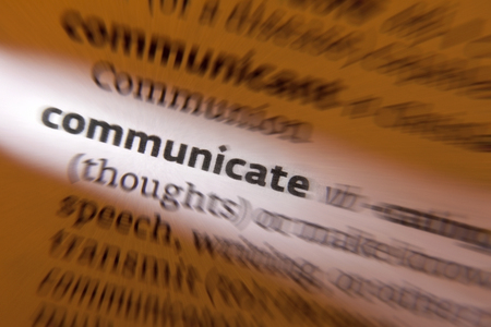 disseminate: Communicate - to share or exchange information, news, or ideas  Stock Photo