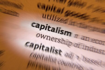 political system: Capitalism is an economic and political system in which a country Stock Photo