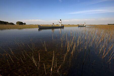 Tourists on the Okavango Delta in Botswana