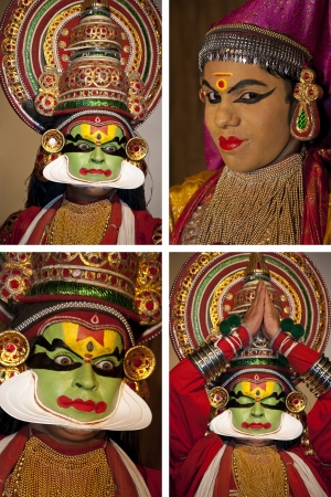 kathakali: Kathakali Dancer in Cochin in the Kerala region of southern India  Kathakali is a highly stylized classical Indian dance-drama noted for the attractive make-up of characters, elaborate costumes, detailed gestures and well-defined body movements presented  Editorial