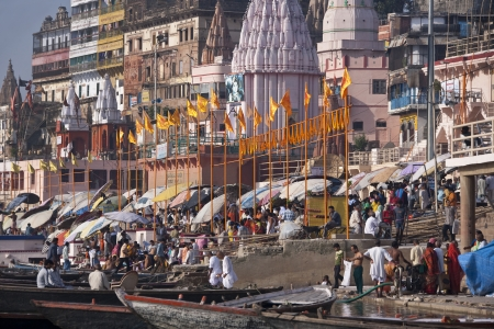 The crowds of devotees at the Hindu Ghats on the Holy River Ganges in Varanasi in northern India