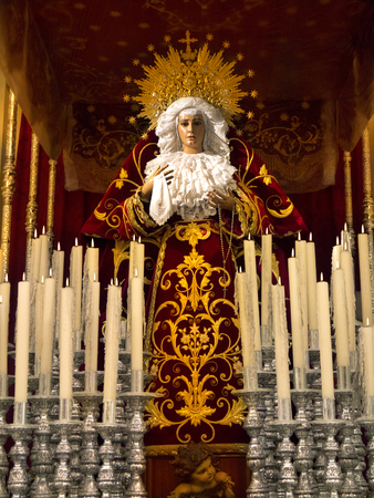 semana: Statue of Madonna, the Virgin Mary in the Semana Santa Museum in the town of Orihuela on the Costa Blanca in Spain