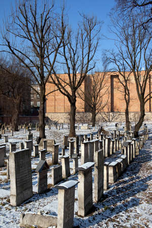 remuh: The old Jewish Remuh Cemetery in Krakow in Poland Editorial