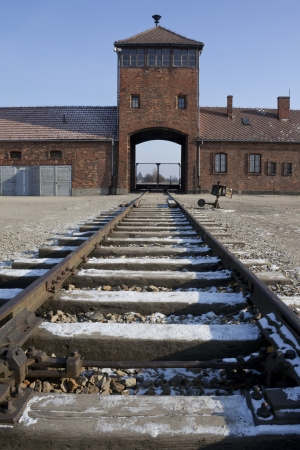 Entrance to Auschwitz II-Birkenau, the extermination camp, where up to three million people came through this gate to be murdered by the Nazis  2 5 million gassed, and 500,000 from disease and starvation