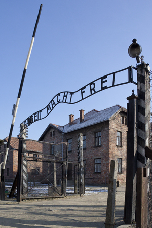 Entrance to Auschwitz Concentration camp, where up to three million people were murdered by the Nazis  2 5 million gassed, and 500,000 from disease and starvation   Albeit Macht Frel - Work makes you free  Editorial