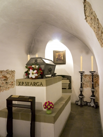 high altar: The tomb of Father Skarga in the crypt below the high altar in the Church of St  Peter and St  Paul in the city of Krakow in Poland