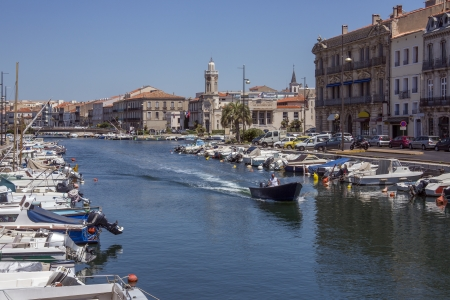 The Canal Royal in the coastal town of Sete in the Languedoc-Roussillon region of the South of France  Sete is a port and a sea-side resort on the Mediterranean Sea with its own very strong cultural identity, traditions, cuisine and dialect