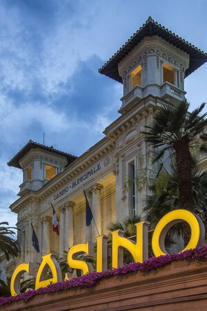 The Casino in the Mediterranean resort of San Remo  Sanremo  in the province of Imperia on the northwest coast of Italy  Editorial
