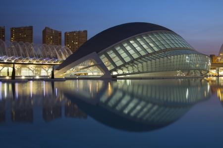 hemispheric: The futuristic architecture of the Ciutat de les Arts i de les Ciencies  City of Arts   Sciences  the the city of Valencia in the Pais Valenciano region of eastern Spain  Editorial
