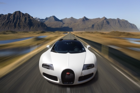 The Bugatti Veyron EB 16 4 is a mid-engined grand touring car, designed and developed by the Volkswagen Group  It is the fastest street-legal production car in the world, with a top speed of 267mph  - Photographed in Iceland