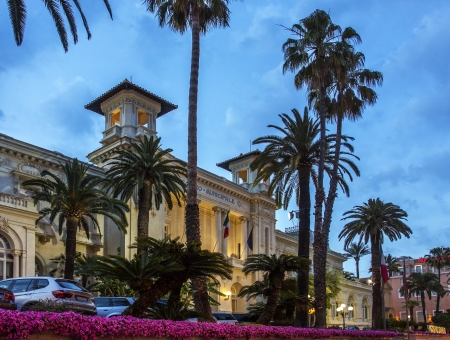 The Casino in the resort of San Remo or Sanremo in the province of Imperia on the northwest coast of Italy  Editorial