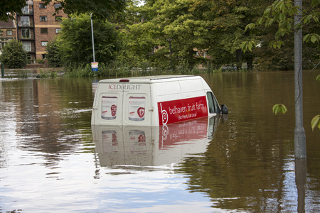 ouse: The River Ouse floods the streets of central York in the United Kingdom -  September 2012