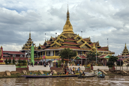 dow: the Phaung Dow Oo Buddhist Temple on Inle Lake in Shan State in central Myanmar - Burma