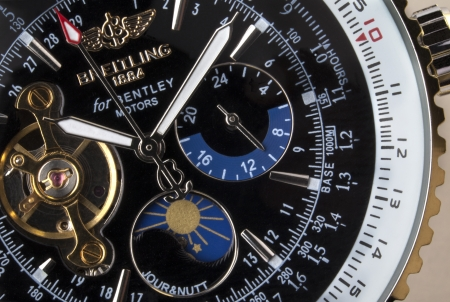Close-up of an expensive Swiss made Breitling chronograph wristwatch
