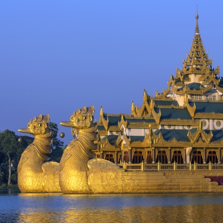 The Karaweik is a replica of a Burmese Royal Barge on Kandawgyi Lake in Yangon in Myanmar - Although a national landmark it now houses a restaurant
