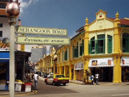 singapore city: Serangoon Road area known as Little India in the city of Singapore  Editorial