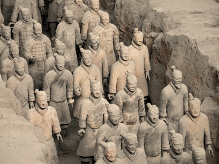 The Terracotta Army near the city of Xian in Shaanxi province in the People