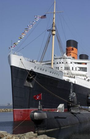 The Queen Mary Cruise Liner now a hotel moored at Long Beach, California in the United States of America