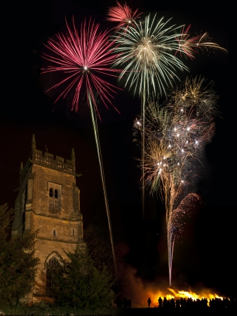 guy fawkes night: Bonfire and firework display to celebrate the November the 5th anniversary of the Gunpowder Plot - this was the plot by Catholic extremists lead by Guy Fawkes to blow up King James 1st and the British Houses of Parliament in 1605