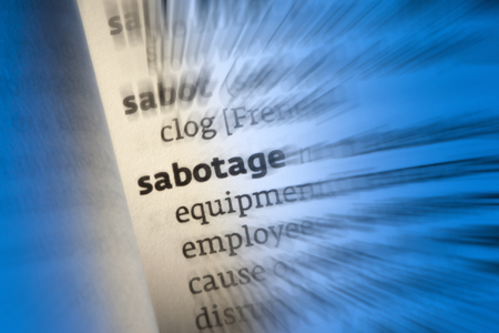 An act of sabotage is to deliberately destroy, damage, or obstruct something, especially for political or military advantage  Stock Photo - 22944504