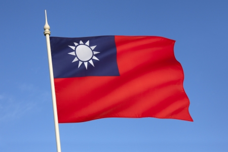 Flag of the Republic of China - Taiwan   Since 1949, the flag is mostly used within Taiwan, Penghu, Kinmen, Matsu and other outlying islands where the Republic of China relocated after having lost the Chinese Civil War to the Communists  Standard-Bild