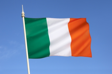 wil: The national flag of Ireland  frequently referred to as the Irish tricolour   The Irish government has described the symbolism behind each colour as being that of green representing the Gaelic tradition of Ireland, orange representing the followers of Wil Stock Photo