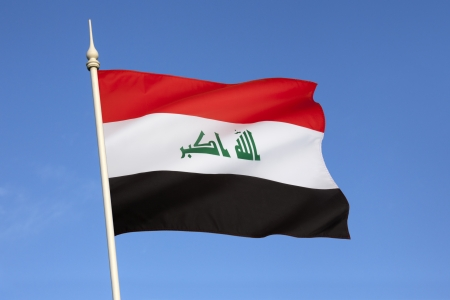 The flag of Iraq  In January 2008, a new design for the flag was confirmed  The parliament intended that the new design last for one year, after which a final decision on the flag would be made  However, the flag was reviewed in parliament in April 2009 a Stock Photo - 24231811