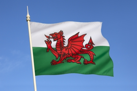 incorporates: The flag of Wales in the United Kingdom  The flag incorporates the Red Dragon of Cadwaladr, King of Gwynedd, along with the Tudor colours of green and white