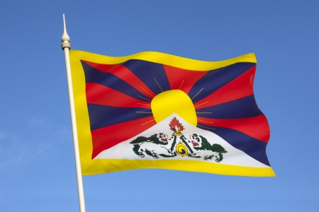 The Tibetan flag  snow lion flag  was introduced by the 13th Dalai Lama in 1912  Since the 1960s, it is used a symbol of the Tibetan independence movement  photo
