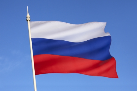 russian federation: Following the dissolution of the Soviet Union in 1991, this became the civil and state flag of the Russian Federation   Stock Photo