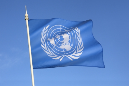 The flag of the United Nations was adopted on October 20, 1947, and consists of the official emblem of the United Nations in white on a pale blue background  Redactioneel