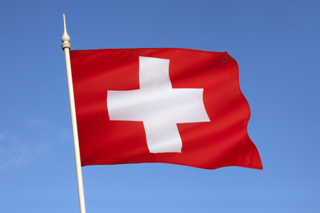 introduced: The flag of Switzerland  It was introduced as official national flag in 1889  Stock Photo