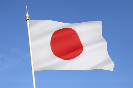 The national flag of Japan is a white rectangular flag with a large red disk  representing the sun  in the center  This flag is officially called Nisshoki in Japanese, but is more commonly known as Hinomaru  circle of the sun