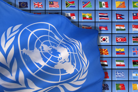 The flag of the United Nations on a background of international flags