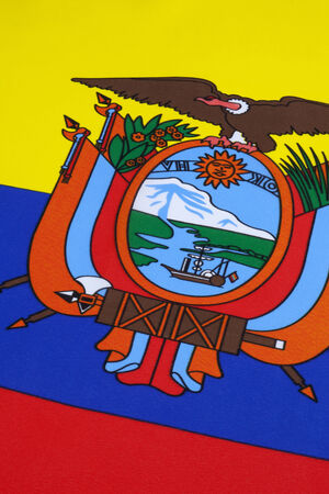 finalized: The flag of Ecuador was first adopted on 1835 and later on September 26, 1860  The design of the current flag was finalized in 1900 with the addition of the coat of arms in the center of the flag  Stock Photo