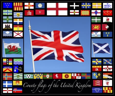 middlesex: County flags of the United Kingdom together with the flags of England, Scotland Wales and the Union Flag of Great Britain