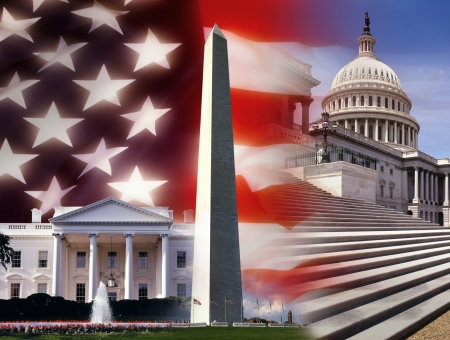 Patriotic symbols of the United States of America  The White House, Washington Monument and the Capital Building in Washington DC  Stock Photo