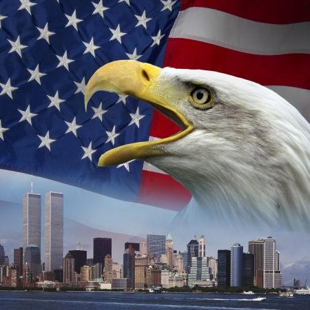 Patriortic symbols to remember 9-11 Stock Photo