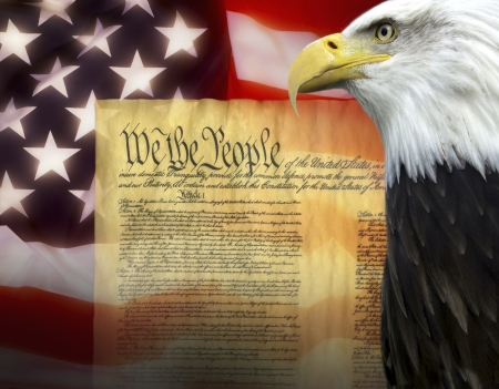 declaration: Symbols of The United States of America - United States Constitution Stock Photo