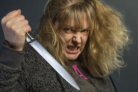 sadism: A crazy psychotic young woman - domestic violence