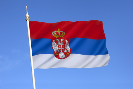 Flag of Serbia  The same tricolour, in altering variations, has been used since the 19th century as the flag of the Serbian nation  The current flag was officially adopted on November 11, 2010  photo