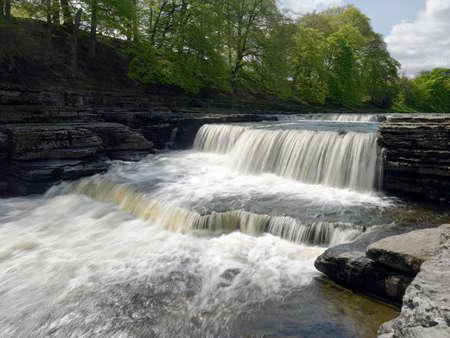 wensleydale: Aysgarth Falls in Wensleydale in the Yorkshire Dales in Northern England  UK Stock Photo